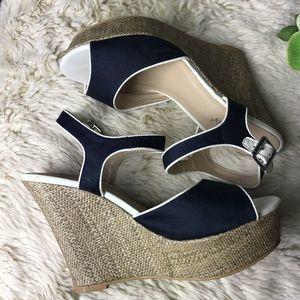 Francesca's shoes 10M Espadrille Platform Blue Tan